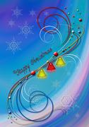 Background with snowflakes and bells and decor of colored of whorls Stock Illustration