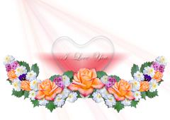 Stock Illustration of Garland of flowers with hearts on a white background
