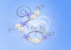 Hearts with periwinkle blue and asters on a blue background - stock illustration