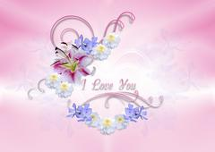 Stock Illustration of Hearts covered with white lily with flowers and curls