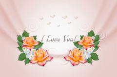 Stock Illustration of Yellow roses and asters on wavy pink background