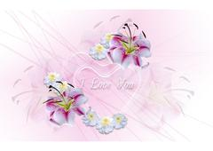 Transparent hearts with white lilies and asters on a pink background - stock illustration
