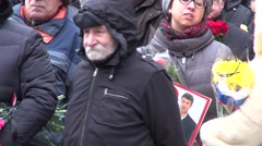 Funeral politician Boris Nemtsov, who was killed at the Kremlin Stock Footage
