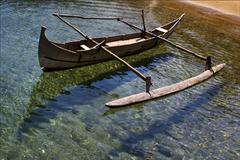 water reflex and coastline - stock photo