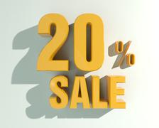 3d letters forming twenty percent symbol and the word sale Stock Illustration