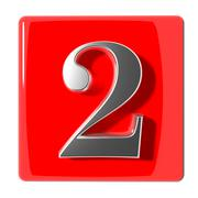 Number two icon - stock illustration