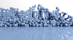Abstract background with blue cubes - stock illustration