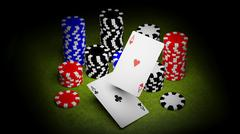 Two aces and casino chips - stock illustration