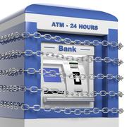 Atm machine in chains isolated on white background Stock Illustration