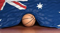 Basketball ball with flag of Australia on parquet floor Stock Illustration