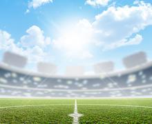 Stadium And Soccer Pitch - stock illustration