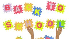 """Stock Illustration of Hands forming phrase """"Back to school"""" with jigsaw puzzle"""