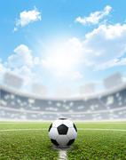 Stadium Soccer Pitch And Ball - stock illustration
