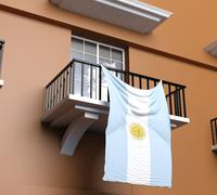 Balcony with Argentinian flag Stock Illustration
