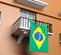 Balcony with Brazilian flag - stock illustration