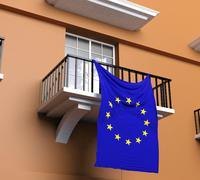 Balcony with flag of European Union - stock illustration