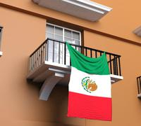 Balcony with Mexican flag Stock Illustration