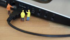Tiny computer technical support. Stock Footage