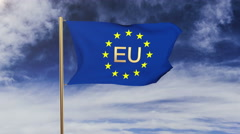 Europe flag with title EU waving in the wind. Looping sun rises style Stock Footage