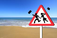 Warning school sign, children on summer vacation concept Piirros
