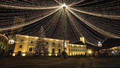 Transylvania Sibiu christmas tree in center square Stock Footage