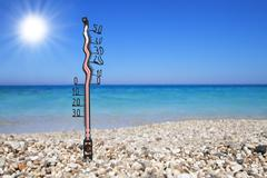 Melted thermometer on a beach shows high temperatures Stock Illustration