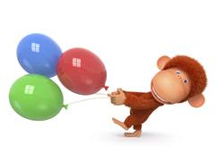 The red monkey with balloon Piirros