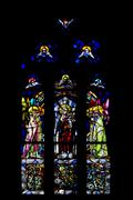 the  colored rose window in  naples - stock photo