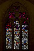the colored rose window - stock photo