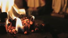 Burning wooden blocks Stock Footage