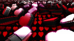 Pixel heart scroll with flare Stock Footage