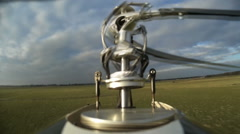 Helicopter Rotors, close up of flying and stunting Stock Footage