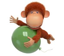 the red monkey with balloon - stock illustration