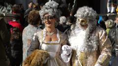 Carnival dressed couple of Venice Italy Stock Footage