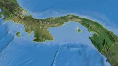 Panama, glide over the map, outlined Stock Footage