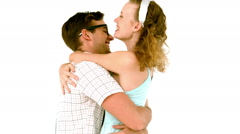In slow motion geeky hipster couple hugging Stock Footage