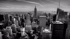 4K UltraHD Timelapse of nightfall in the heart of Manhattan in Black and White Stock Footage