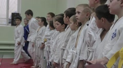 Martial arts. Kids. The Awards ceremony. - stock footage