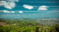 4K TimeLapse - Panoramic views of the mountains of Phuket island in clouds Stock Footage
