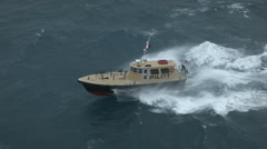 Close-up, Motorboat fights the waves Stock Footage