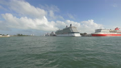 Miami with cruise ships anchored in Biscayne Bay Stock Footage