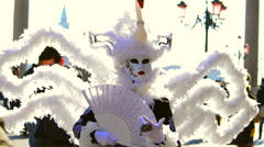 White swan dress at the carnival of Venice Italy Stock Footage