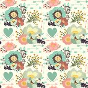Elegant seamless pattern with blossom flowers, hearts and arrows Stock Illustration