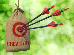 Creativity - Arrows Hit in Red Target - stock illustration