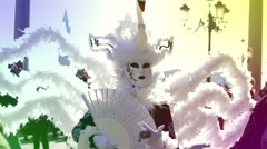 White swan dress - close up - symbol of Carnival of Venice Italy Stock Footage