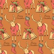 Sketch fancy reindeer in vintage style with bell and stocking Stock Illustration