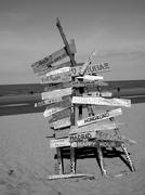 Sign to Anywhere, Beach scape Stock Photos