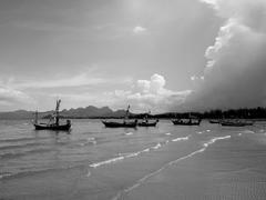 Fleet of Fishing Boats in Sand Dock Stock Photos