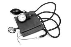Medicine object. blood pressure with stethoscope Stock Photos