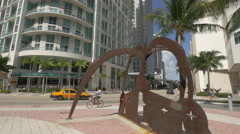 Miami and the Keeper of the Stars on Biscayne Boulevard Stock Footage